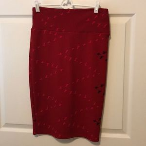 LuLaRoe Cassie Burgundy Bird Skirt Size Small